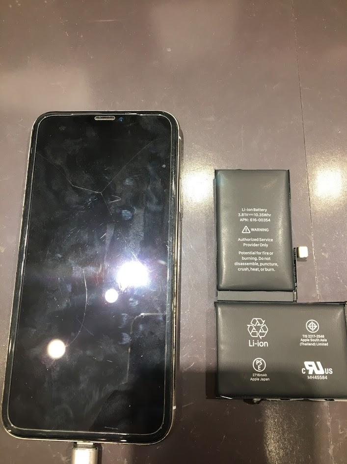 iPhoneX・バッテリー交換 バッテリーが膨張しちゃった(岡山市北区のお客様)