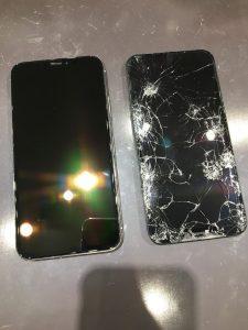 バキバキのiPhoneXRの画面交換