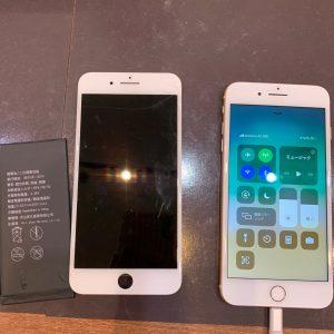 画面交換とバッテリー交換を行ったiPhone8Plus