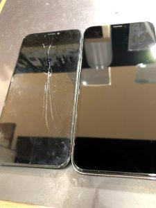 iPhoneXの画面交換・画面の上に工具がクリーンヒット・坂出市のお客様