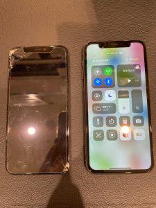 液晶画面が破損したiPhone11Pro