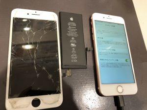 iPhone7画面割れ修理+電池交換修理/門真市・守口市よりご来店多数