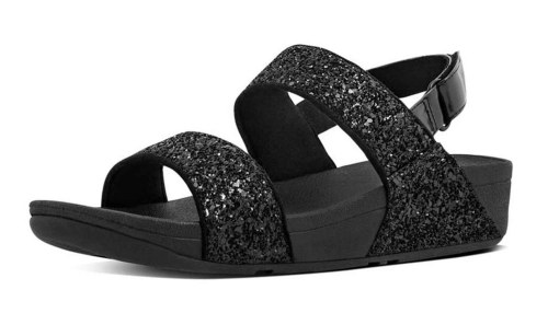 Fitflop Glitterball Back-Strap Sandals-Black is best for walking in Asia