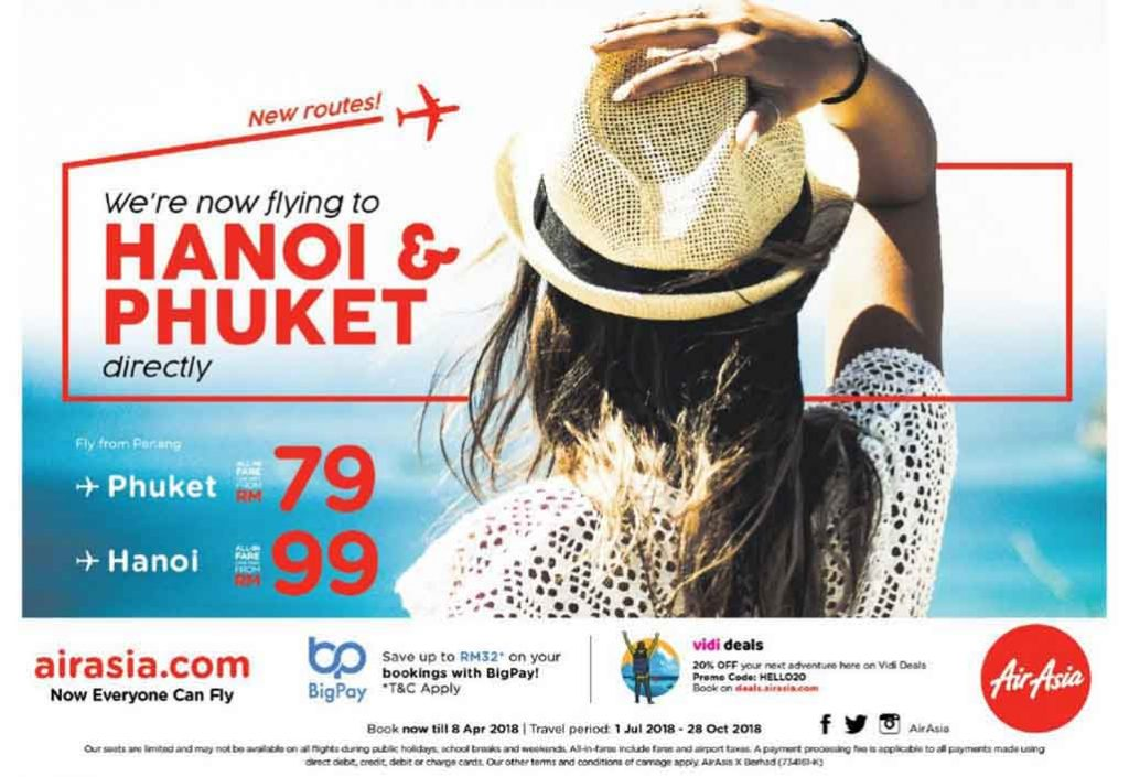 AirAsia now flies direct to Hanoi and Phuket from Penang!