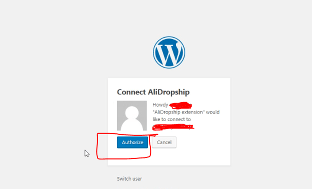 authorize site in alidropship