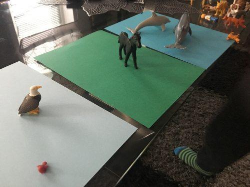Tiere sortieren nach Lebensraum Spielideen für Kinder mit Tierfiguren von Playmobil und Schleich.