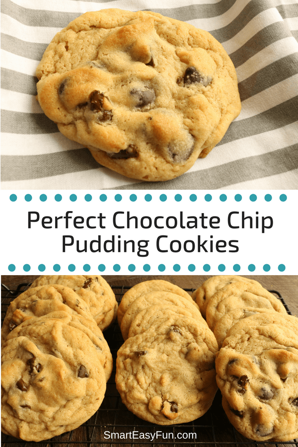 These cookies are amazing! Is there anything better than warm chocolate chip cookies? These cookies have a secret weapon...vanilla pudding mix. So delicious! Visit my blog and check out my other pudding cookies. #cookies, #chocolatechip #smarteasyfun.com