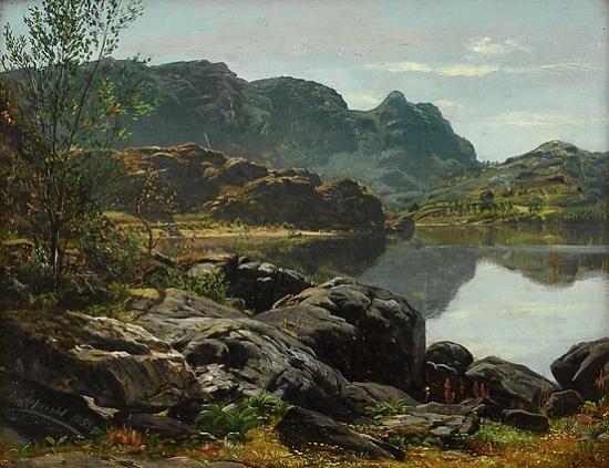 Anders Askevold Landskap med innsjo 1853
