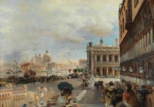 venice a view of the piazzetta with the biblioteca marciana santa maria della salute and the dogana by oswald achenbach 1
