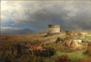 via appia with the tomb of caecilia by oswald achenbach 1
