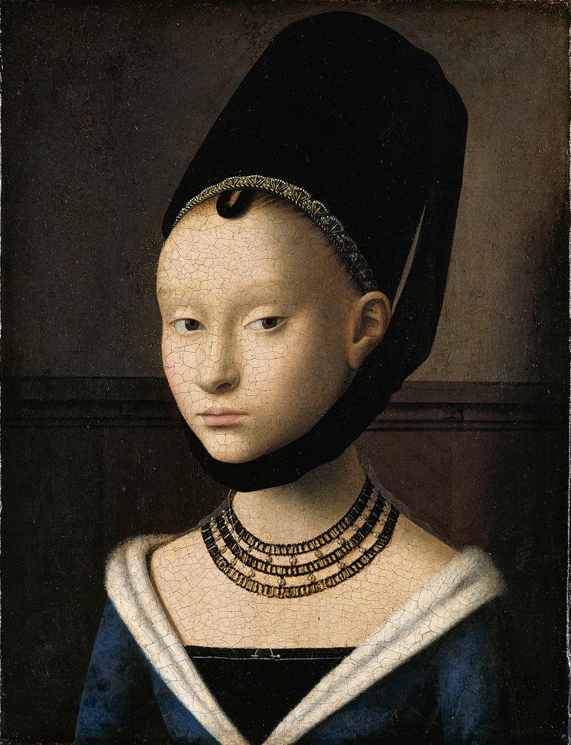 800px Petrus Christus Portrait of a Young Woman Google Art Project