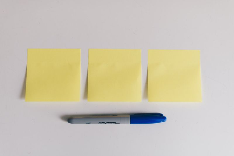 sticky notes with pen