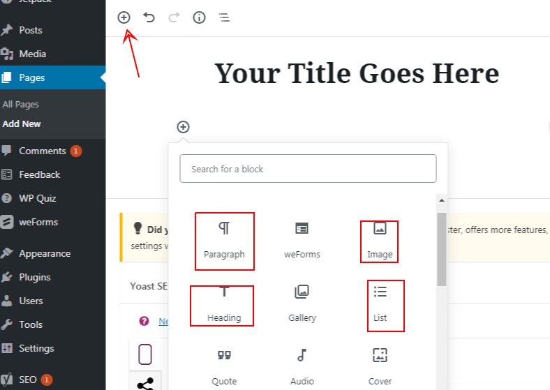 New Gutenberg block elements to create your first page in WordPress - smart entrepreneur blog