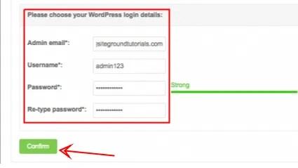 WordPress login details - Siteground - smart entrepreneur blog