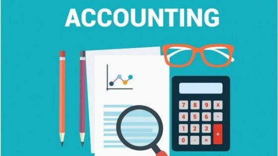 A vector illustration for two pencils, calculator, specs, sheets with graphs - booking and accounting tips for small business owners