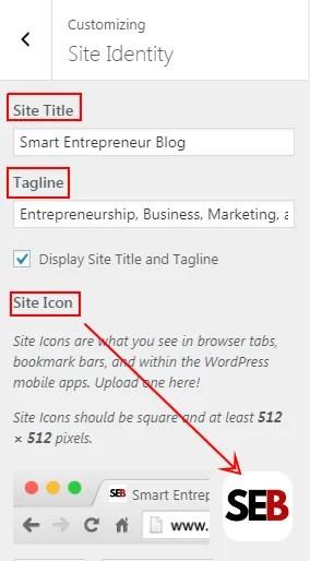 change site identify here - site icon - site title - site tag