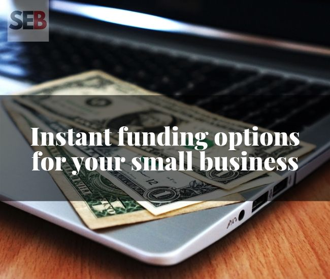 instant funding options for your business - dollar bills on an open laptop