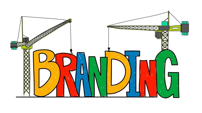 How do you build your brand without breaking the bank - multi-colored branding letters with cranes building it