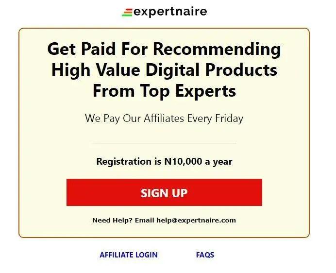 Expertanaire affiliate program for Nigerians