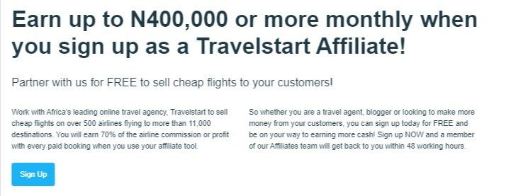 Travelstart affiliate program -2021 best affiliate programs you can start right here in Nigeria