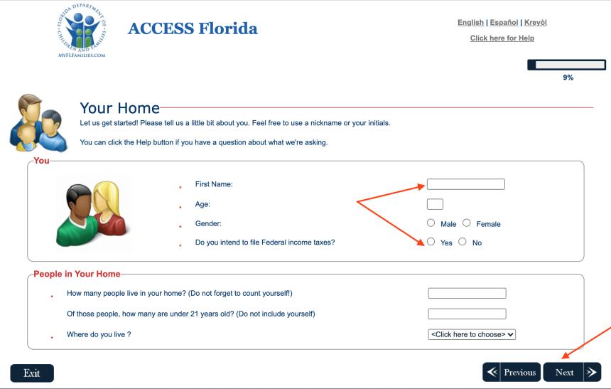 ACCESS Florida SNAP Eligibility Pre-Screener