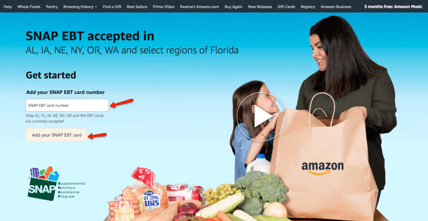 """Use Florida EBT to shop on Amazon for delivery"""