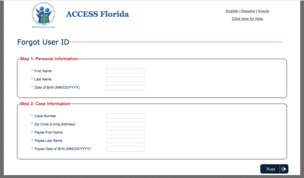 """How to Retrieve MyACCESS Florida User ID """