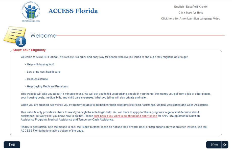 MyAccess Florida Help