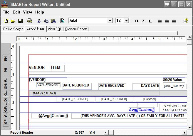 manufacturing production reporting - smarter report writer page layout
