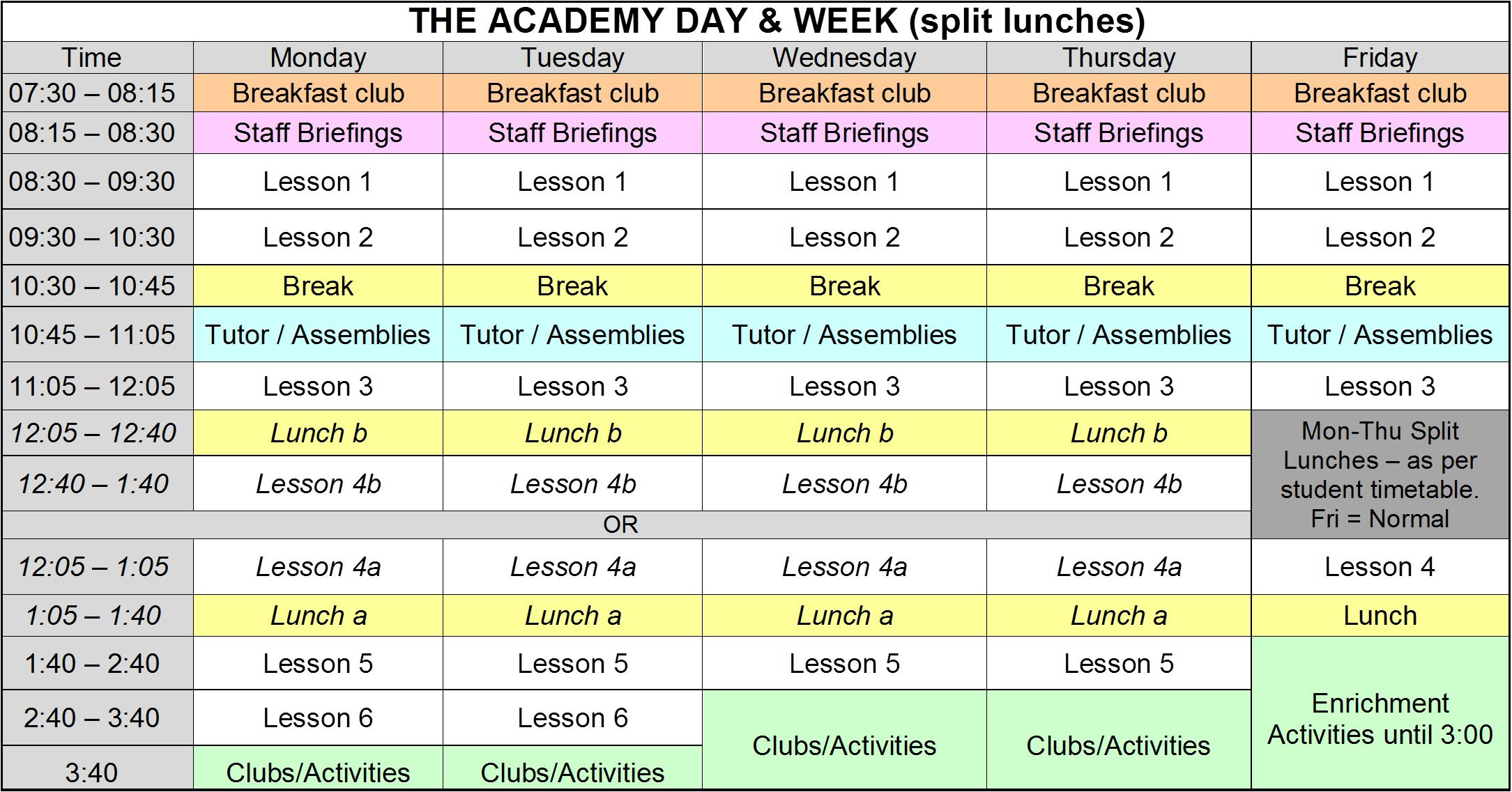 Academy Day (split lunches)