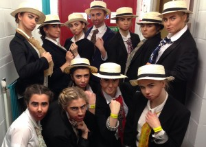 Dancers in Year 11 getting into character before their performance