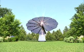 Smartflower, AKA. Solar sunflower on the lawn
