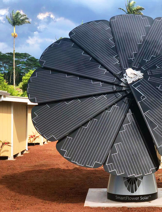 SmartFlower Solar Panel Sits Outside Micro-Shelter Village
