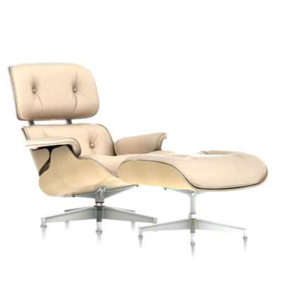 Eames Tall Lounge Chair and Ottoman White Ash by Herman