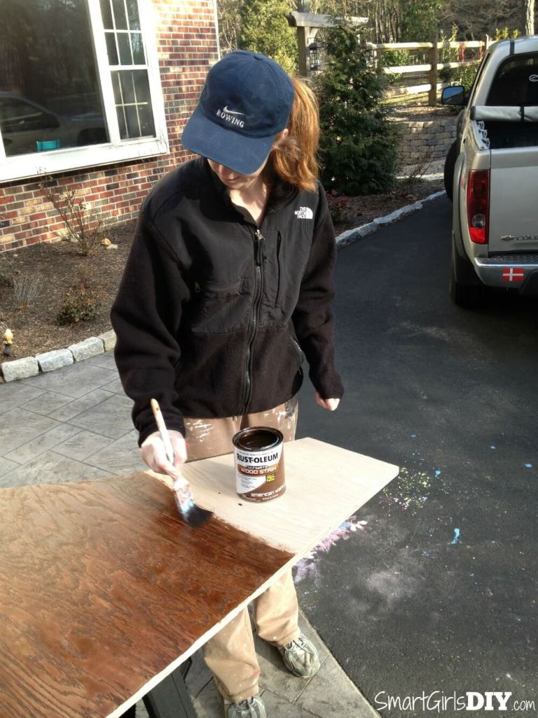 Staining plywood for staircase makeover