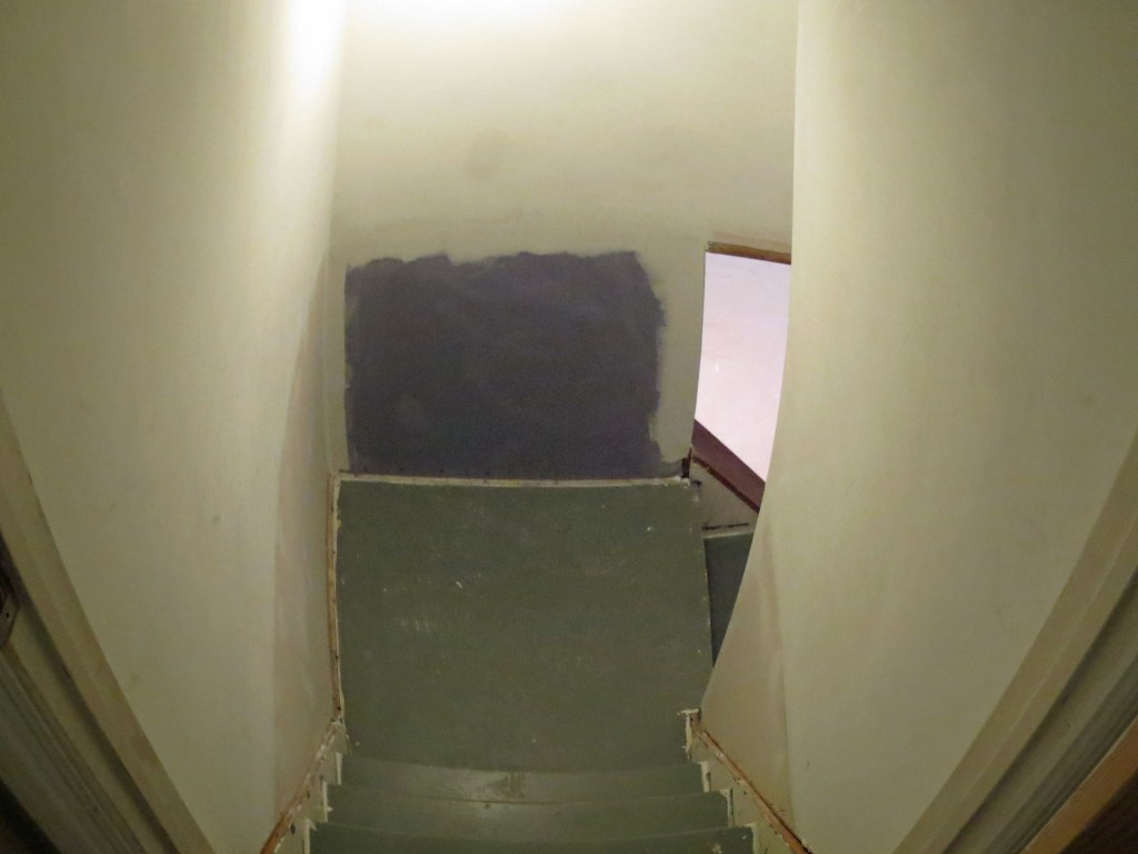 Basement stairs - carpet removed - needs lots of work
