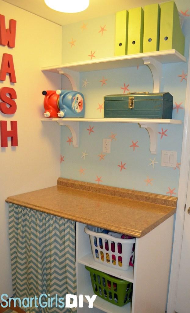 Smart Girls DIY - Laundry Shelves Installed