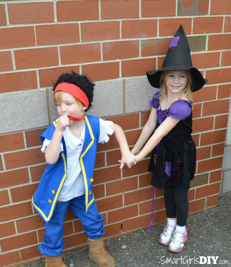 OMG they were so little -- DIY Jake Pirate Costume and hand-me-down witch costume