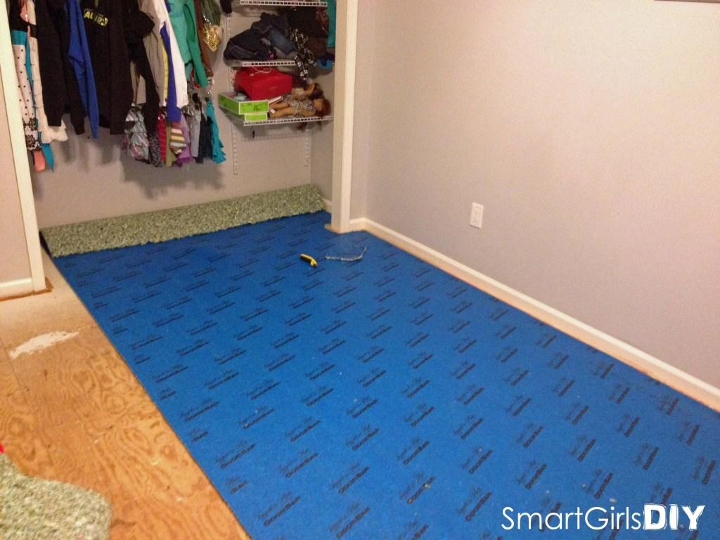 Carpet pad in closet