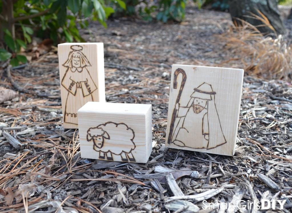 Wood Burned Nativity - Shepard and Angel