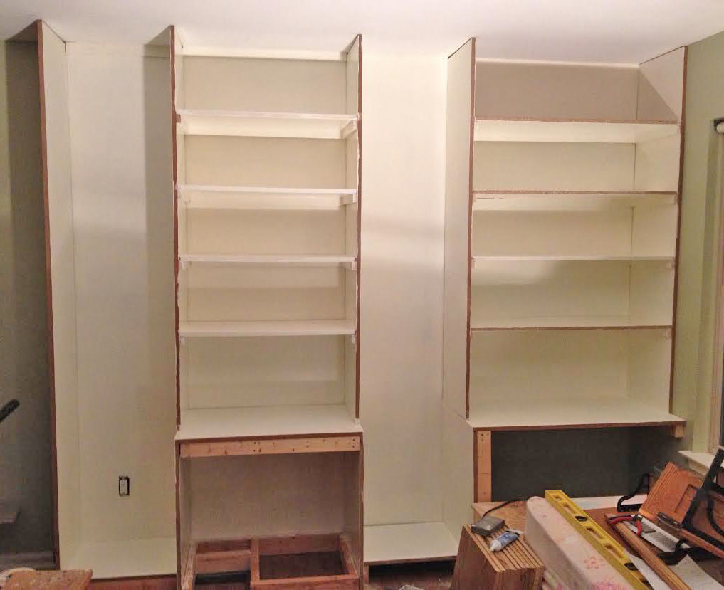 Painted built-in storage