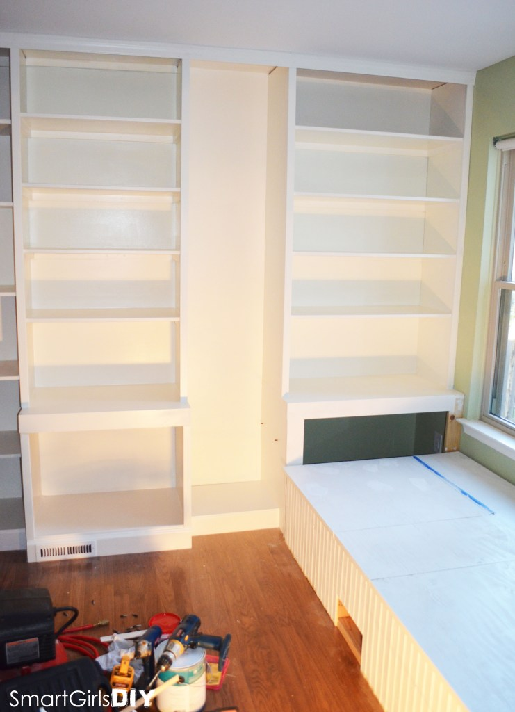 Smart Girls DIY - window seat day bed and bookshelves