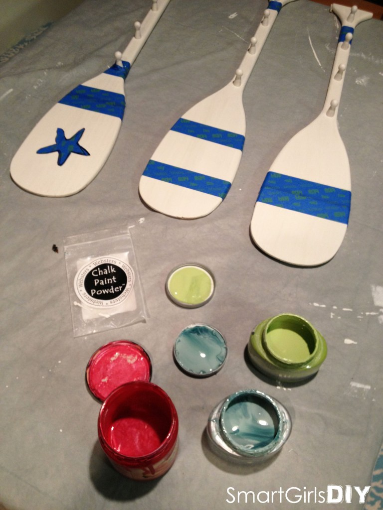 3 colors of chalk paint to paint paddles