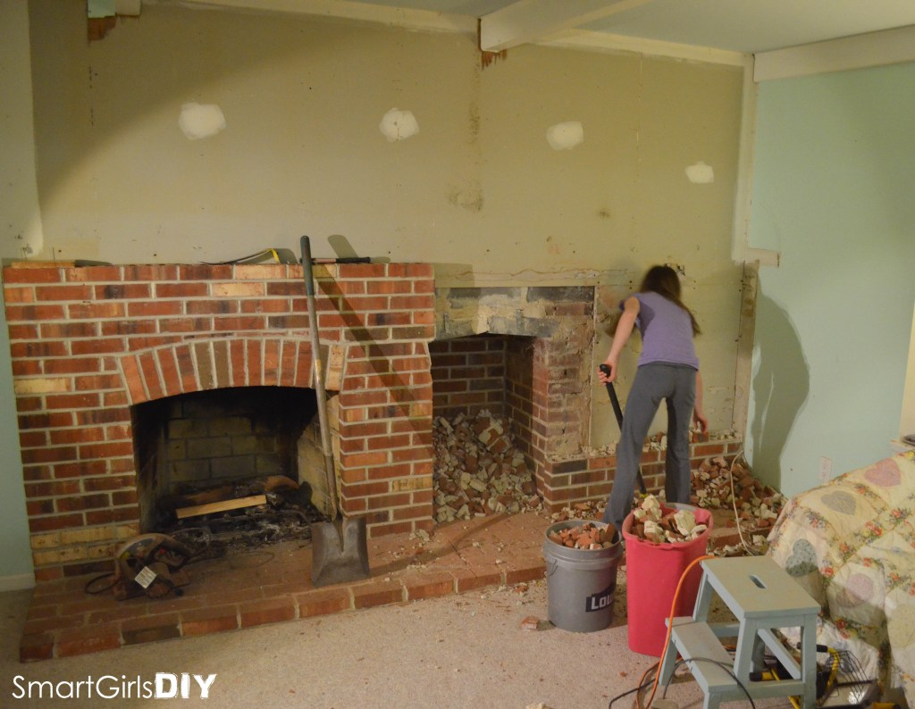 Brick Wall Demolition Fireplace
