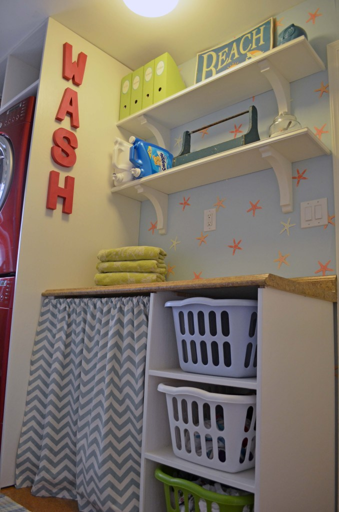 DIY laundry basket shelves and chevron curtain