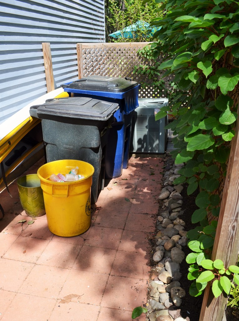 Of course you need to organize your garbage can area before a party - NOT