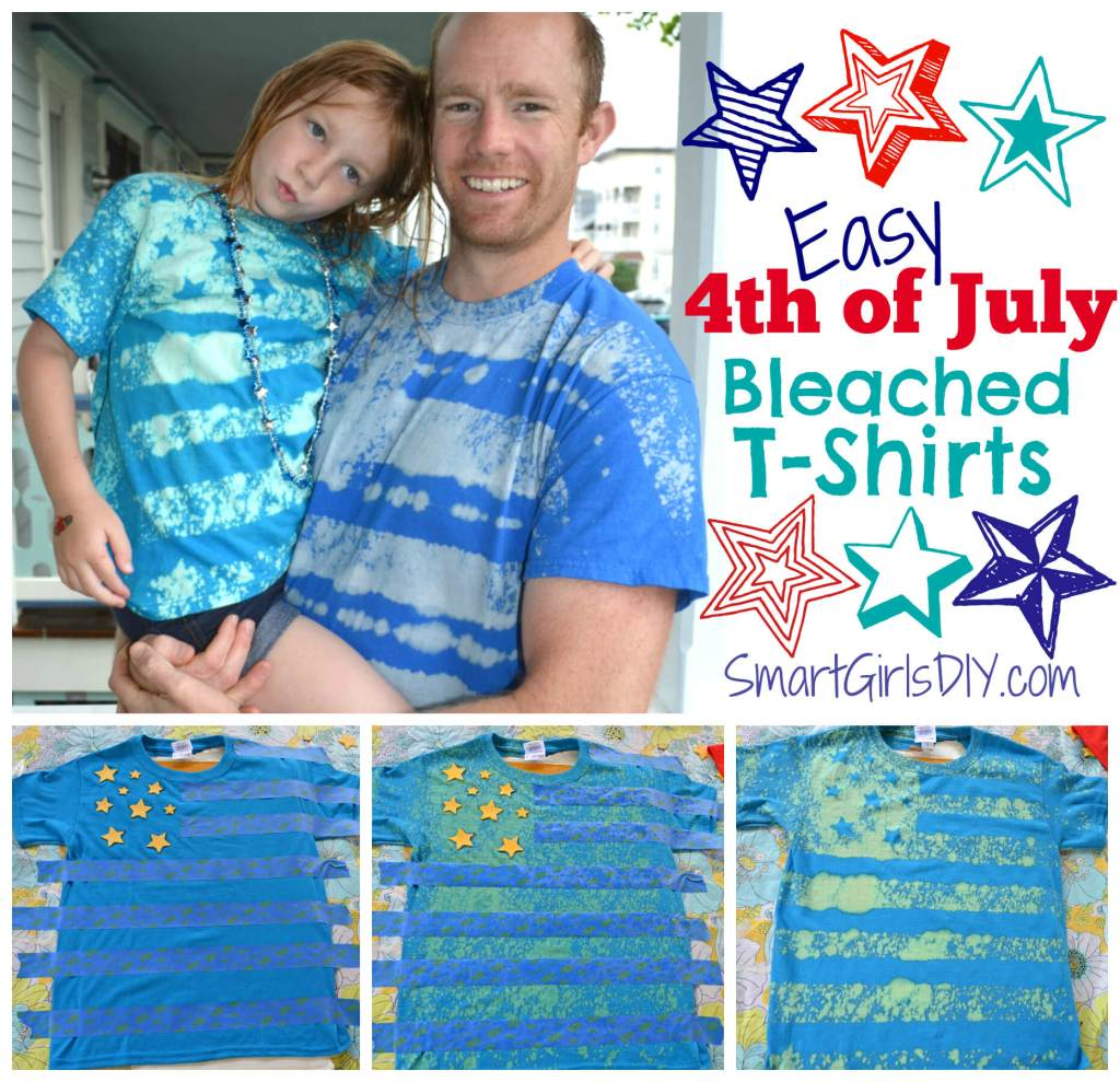 Easy 4th of July Bleached T-Shirt