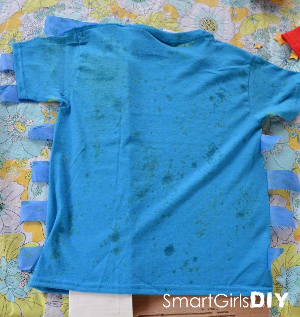 spritz bleach on back of shirt