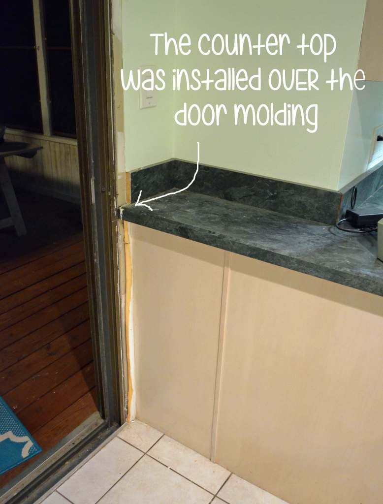 Counter top installed over door molding