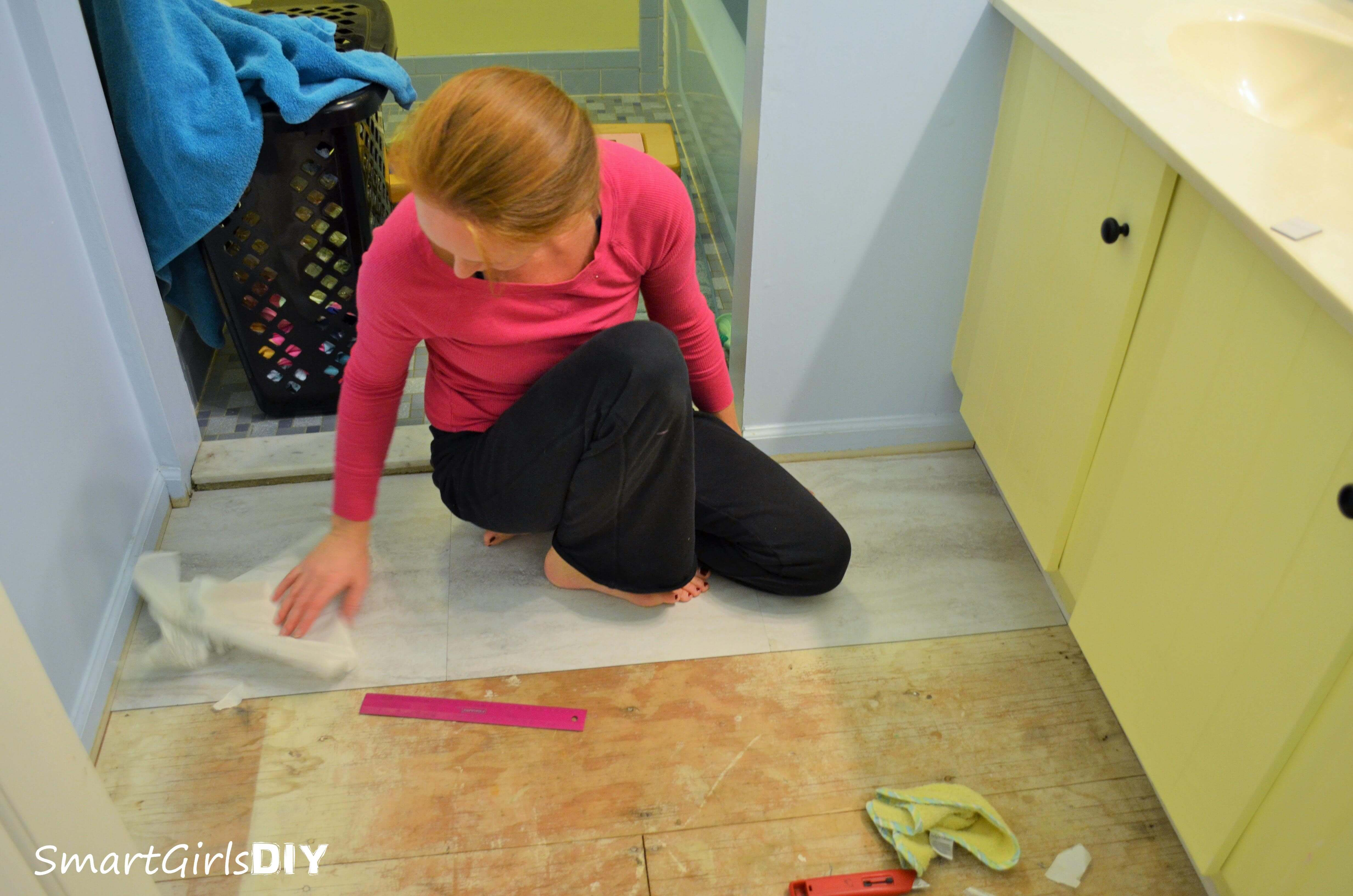 Installing Peel And Stick Tile In The Bathroom ...